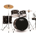 "Mapex Rebel Black 5-Piece Drum Set w/ Hardware & Cymbals, w/20"" Bass Drum"